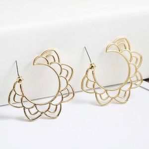3/$30 Gold Lotus Hollow Earrings